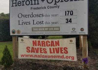 2019 YTD Frederick County Opioid Overdose Cases and awareness sign