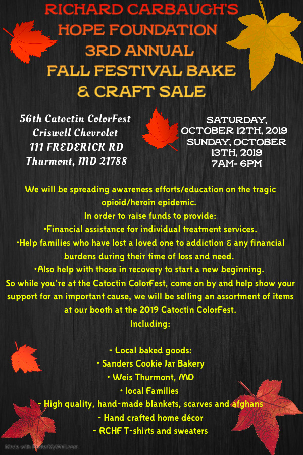 2019 3rd annual Fall Festival Bake & Craft Sale